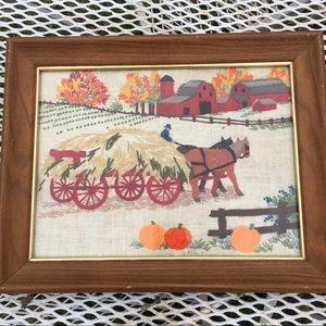 Vintage Art Framed Crewelwork Crewel Embroidery